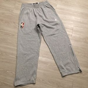 Adidas NBA Mens Sweatpants XL Gray Pockets Zipper